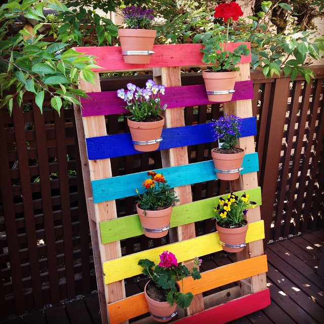 Rainbow Pallet Garden DIY Idea
