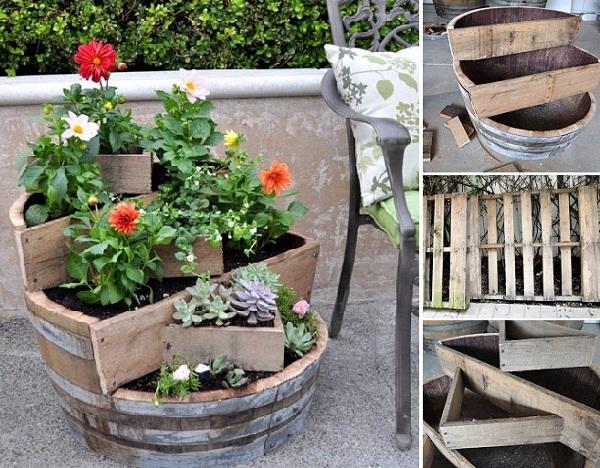 Recycled barrel plant DIY idea