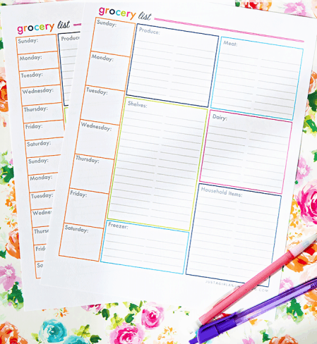 Shopping lists printables