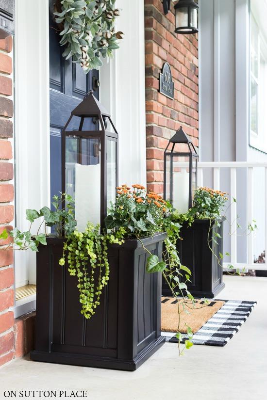Fall Planter Idea with Lanterns & Mums