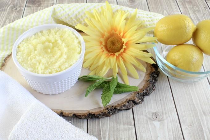 Homemade Lemon Mint Body Scrub