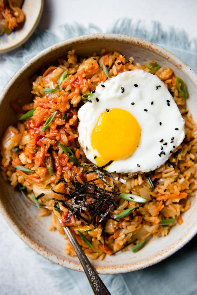 Kimchi Fried Rice Vegetarian Recipe