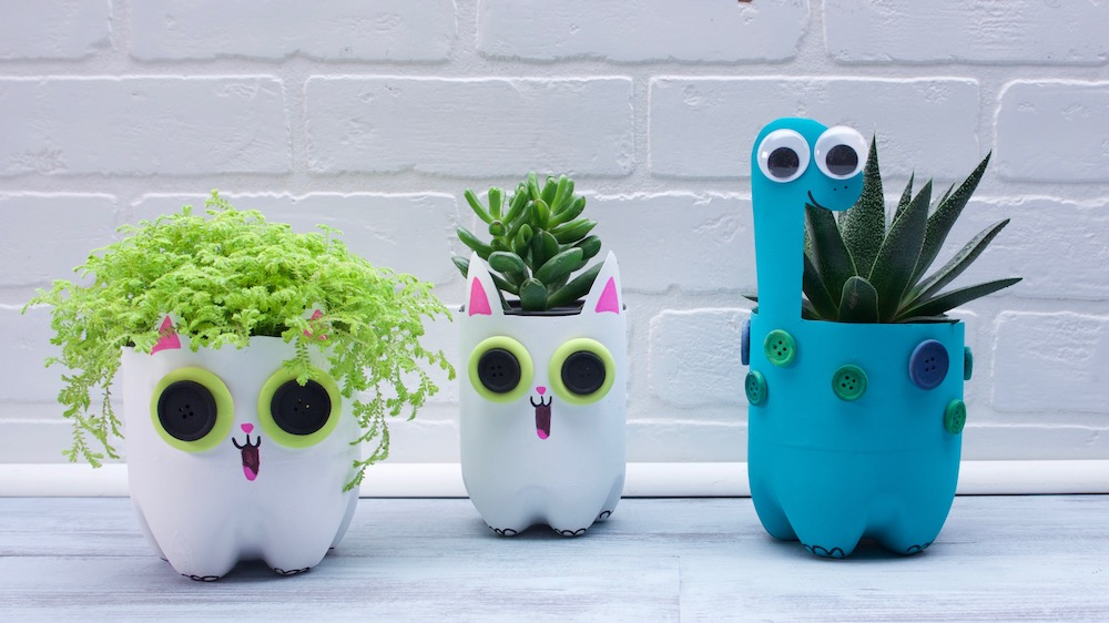 Simple Recycled Plastic Bottle Planters