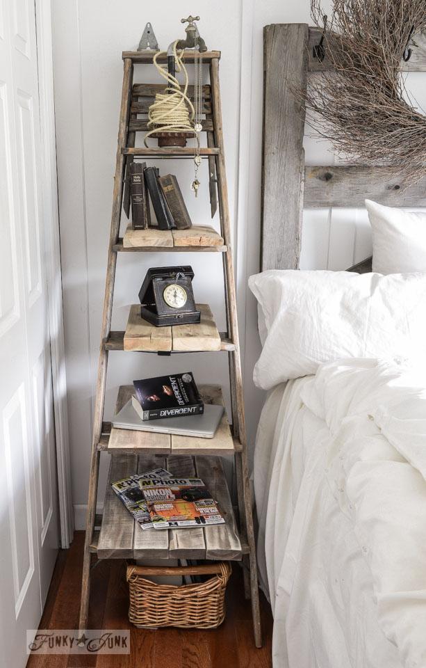 Vintage Step Ladder Side Table Bedroom hack