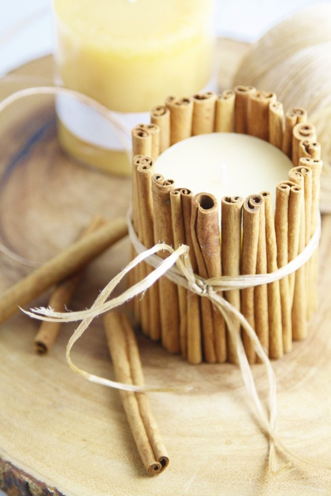 DIY Cinnamon Wrapped Candles