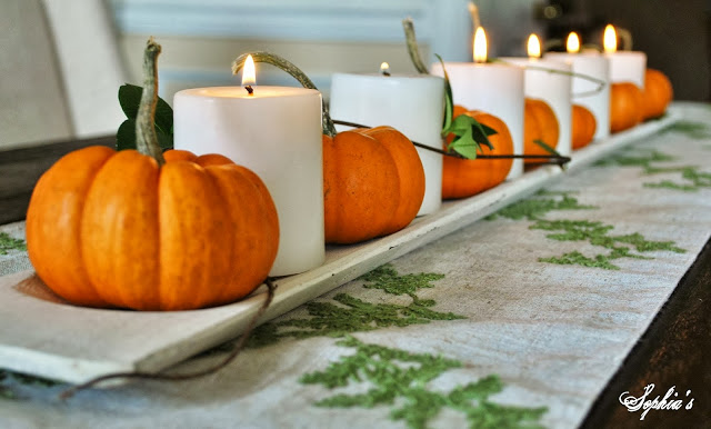 Easy Pumpkin & Candles Centerpiece