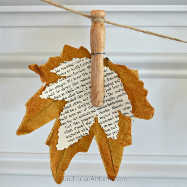 Fall Banner with Book Page Leaves