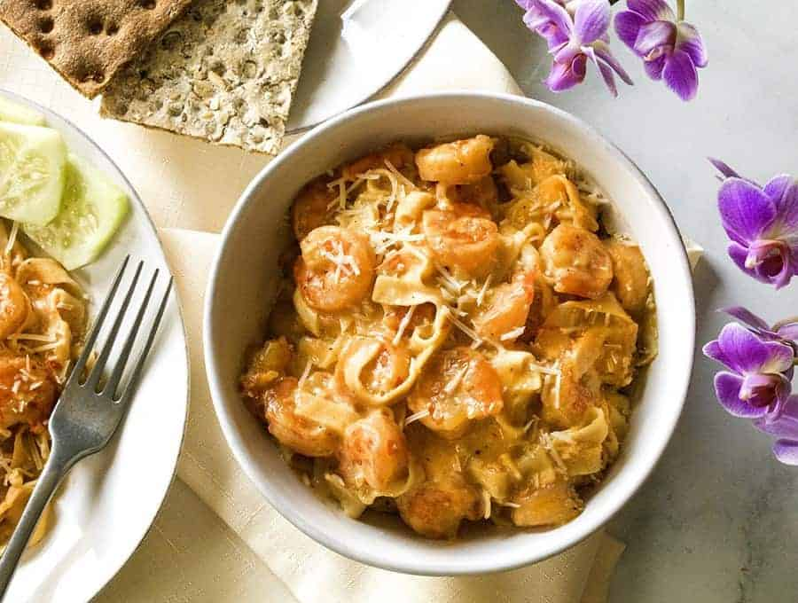 Low Carb Keto Creamy Shrimp Scampi