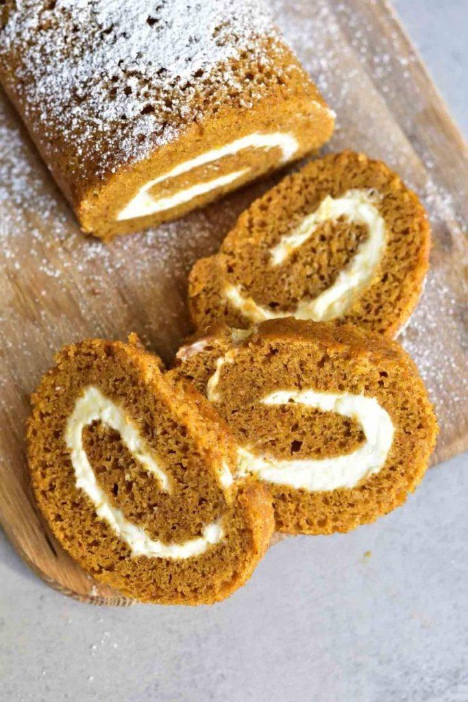 Pumpkin roll with orange cream cheese