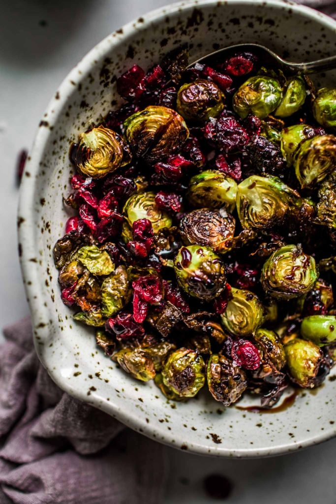 Roasted Brussels Sprouts with Balsamic Reduction & Cranberries Thanksgiving Recipe