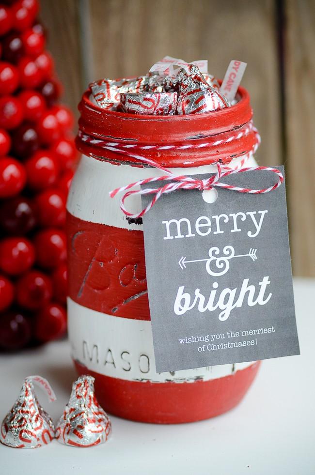 Christmas Striped Mason Jar Gift Idea