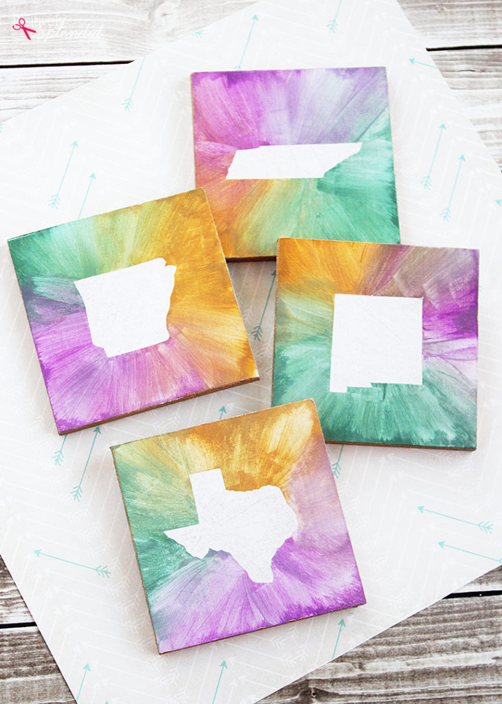 DIY Watercolor State Coasters
