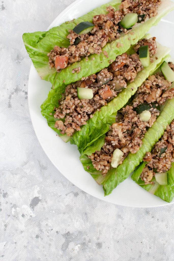 Ginger Sesame Walnut and Hemp Seed Lettuce Wraps
