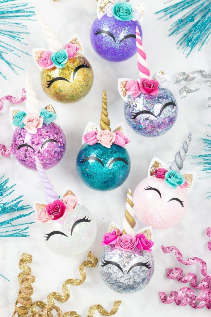 Glitter Unicorn Horn Christmas Ornaments