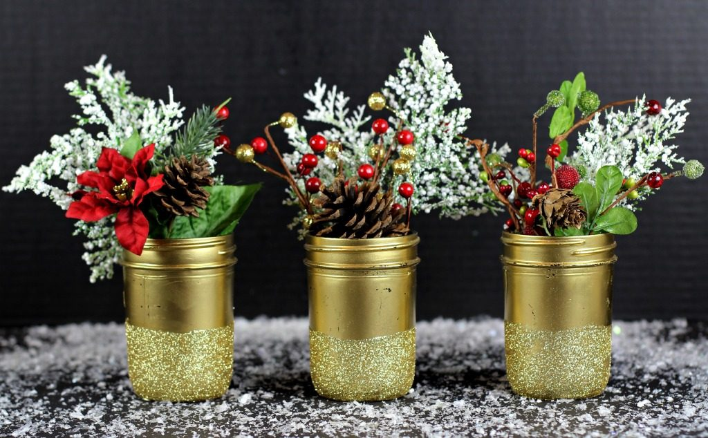 Gold Glittered Mason Jar Vases