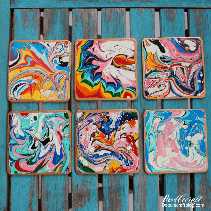 Marbled Copper Coasters
