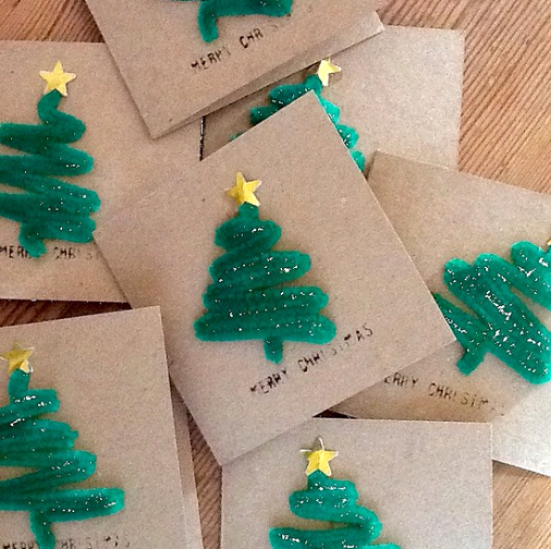 Pipe Cleaner Christmas Tree Card