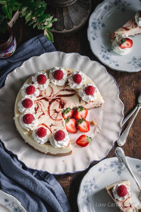 Keto Cheesecake with Raspberry Swirl