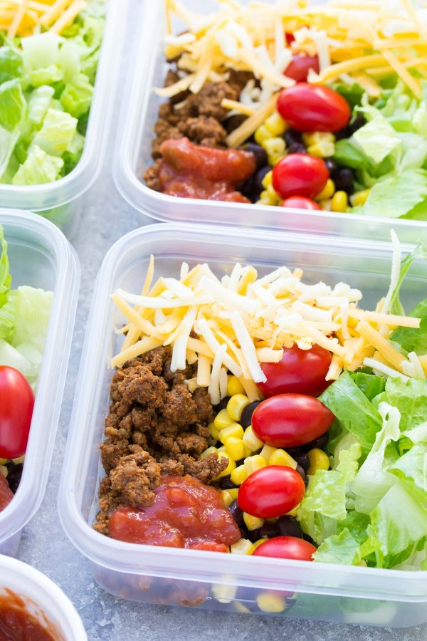 Meal Prep Taco Salad Lunch Bowls